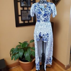 ANGIE BLUE & WHITE SHORTS ROMPER W/ SKIRT!
